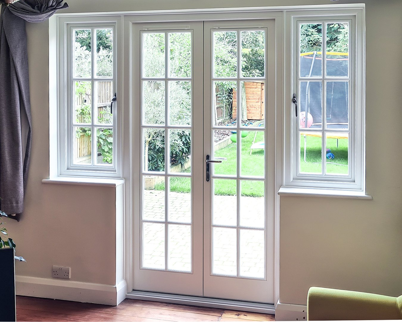 Timber French Doors with Georgian Bars and sidelights