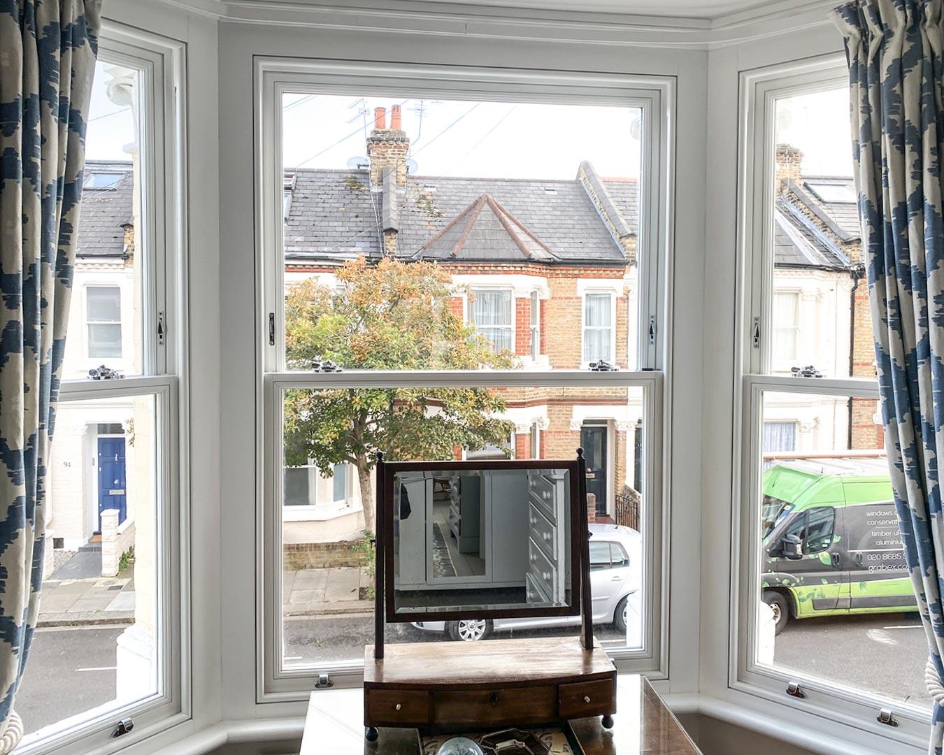 Bay window with Timber Sliding Sash