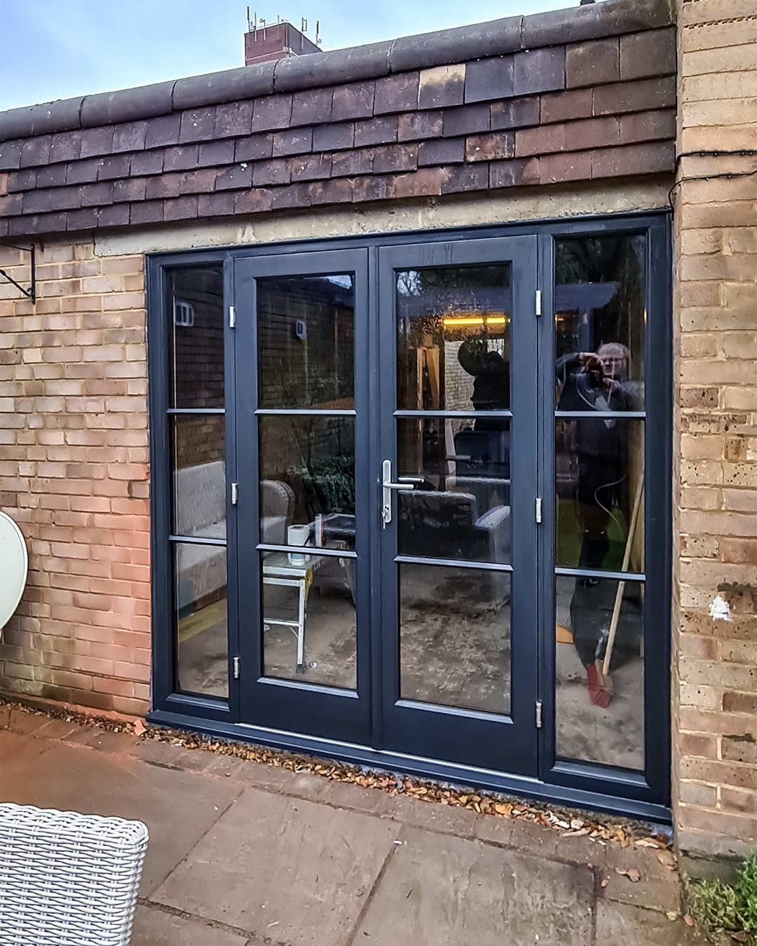 Black Grey Timber French Doors with horizontal bars