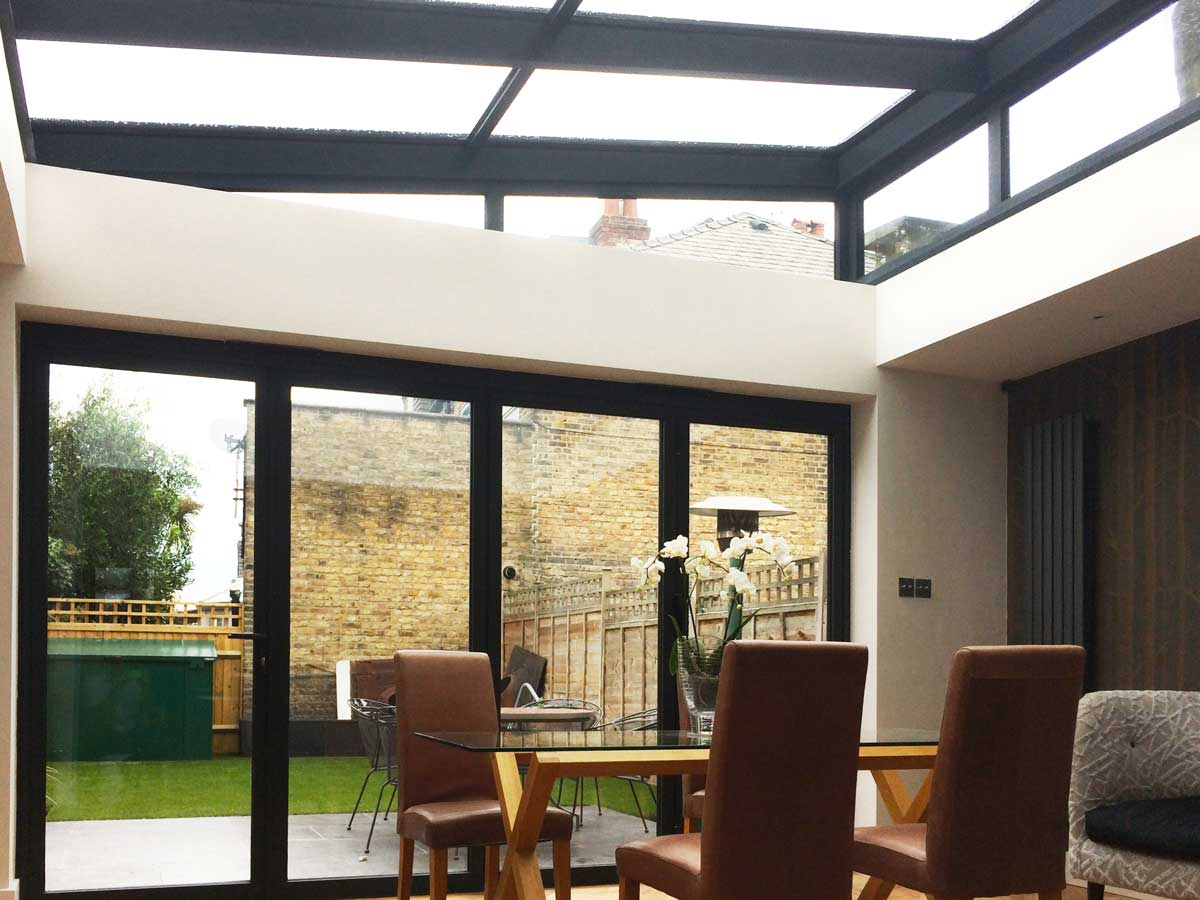 Lean-to glass roof extension