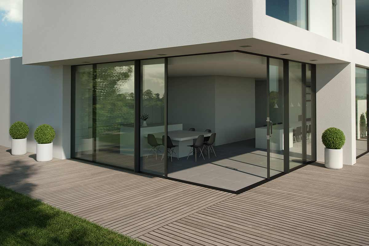Hi-Finity sliding doors with open corner