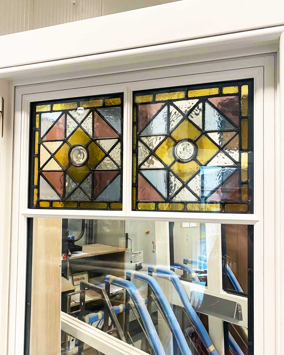 Timber Sash Windows With Stained Glass