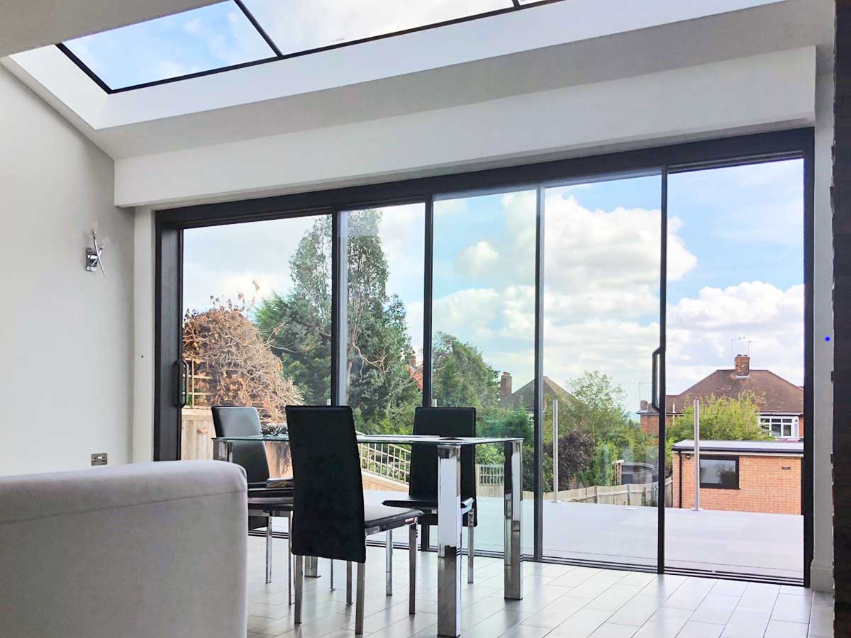 Hi-Finity Aluminium Slim Sliding Doors and lean-to-roof